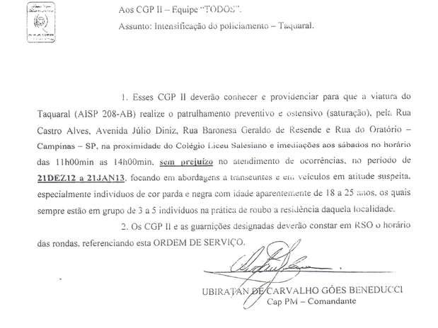 Ordem interna de comandante da PM de Campinas instruía tropa a priorizar abordagens a negros e pardos Foto:  / Reprodução