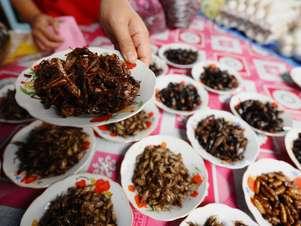 Em Vientiane, capital do Laos, é fácil encontrar diferentes tipos de insetos prontos para serem degustados Foto: AFP