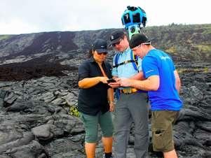 Mochila equipada com as câmeras do Street View, chamada de Trekker, é usada para mapear locais de difícil acesso Foto: Divulgação