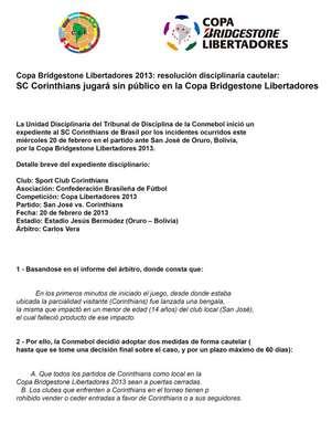 """Conmebol divulgou documento com """"medida cautelar"""" após tragédia Foto: Reprodução"""