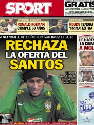 Capa desta quinta do jornal Sport informa que Neymar teria recusado oferta do Santos Foto: Sport / Reprodução