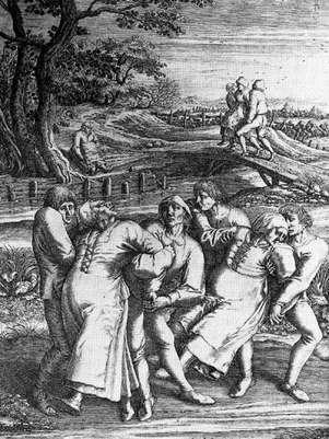 Gravura de Henricus Hondius sobre esboço de Pieter Brueghel, o Velho, que testemunhou um caso de praga de dança em 1564. Na imagem, três mulheres vítimas são socorridas por homens Foto: Wikimedia