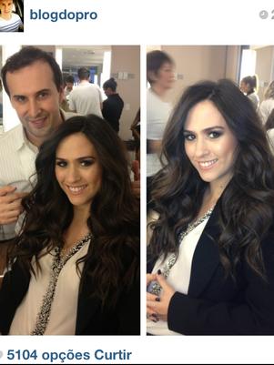 Marcos Proença publicou foto tratando o cabelo de Tatá Werneck e post fez sucesso entre suas seguidoras Foto: Reprodução/Instagram