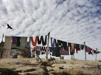Acampamento em uma área entre Jerusalém e o acampamento israelense de Maale Adumim, na Cisjordânia Foto: AFP