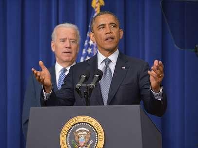 Em entrevista coletiva, o presidente Barack Obama anunciou um plano para o controle de armas nos Estados Unidos Foto: AFP