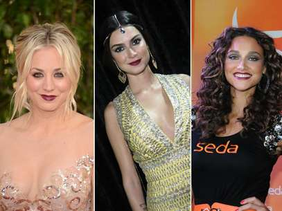 Vinho, ameixa e amora são algumas das cores que marcaram presença nos lábios de estrelas nacionais e internacionais Foto: AgNews / Getty Images