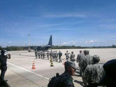 Homens da Força Nacional desembarcaram na sexta-feira em Santa Catarina Foto: Reprodução