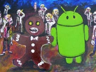 Imagem que mostra um pãode gengibre - apelido do sistema Android 2.3 - cercado por zumbis motivou vídeo de pastor Foto: Reprodução