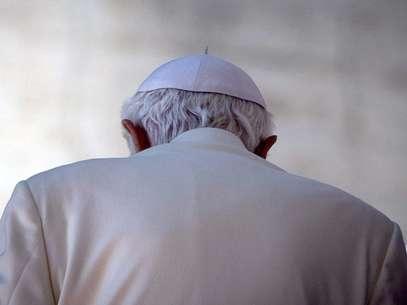 O Papa Bento XVI, durante sua útlima audiência de quarta-feira Foto: EFE