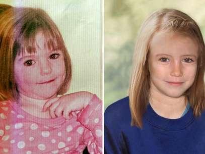 Montagem mostra foto da menina Madeleine McCann aos três anos (E), quando desapareceu, e como ela seria em 2012, com nove anos Foto: AFP