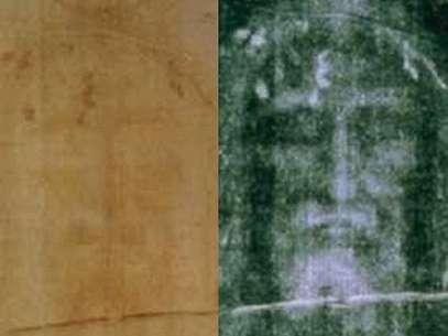 Comparativo entre o manto original (esq.) e um negativo (dir.): tecido marcado por sangue de alguém que foi crucificado podeter mesmo coberto o corpo de Jesus, segundo novos testes infravermelhos Foto: Wikimedia