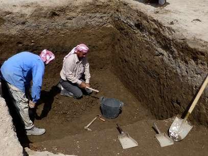 A descoberta, do tamanho de um campo de futebol, foi feita na antiga cidade de Ur, hoje Iraque Foto: AP