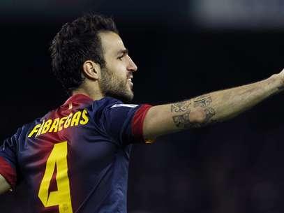 Substituto de Messi, Fábregas deu show e marcou três gols em goleada do Barça Foto: EFE
