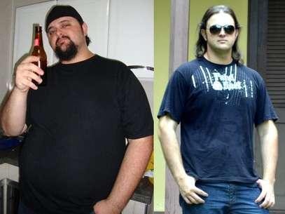 Cesar em 2012 com 170,9 kg e em 2013, com 115,5 kg Foto: Arquivo Pessoal/ / vc repórter