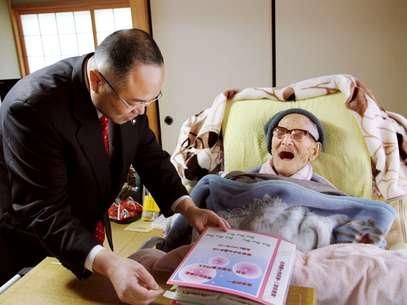 """Kimura, que trabalhou 40 anos no Correio local, não fuma, bebe """"modestas"""" quantidades de álcool e come com moderação Foto: AP"""