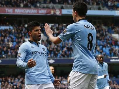 Agüero abriu o placar na vitória do Manchester City Foto: Reuters