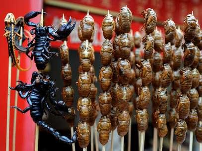 Em Pequim é possível experimentar diferentes tipos de insetos em barracas nas ruas Foto: AFP