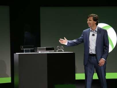 """""""Tive minha carreira inteira focada em tecnologia de entretenimento e nunca estive tão empolgado"""", disse Don Mattrick, presidente da área de entretenimento e negócios da Microsoft ao apresentar o Xbox One Foto: AP"""