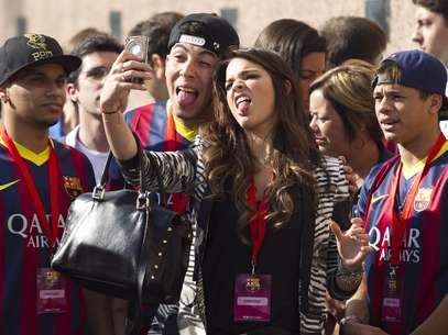 Marquezine acompanhou Neymar na viagem a Barcelona Foto: EFE