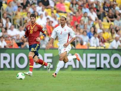 Sergio Ramos foi o único titular da Espanha, mas saiu no intervalo Foto: Daniel Ramalho / Terra
