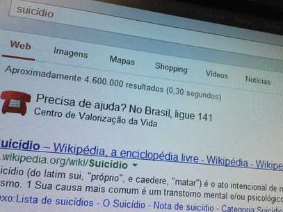 No Google, buscas relacionadas ao suicídio orienta usuários que precisam de ajuda Foto: Terra