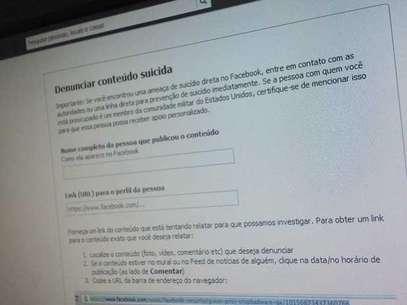 No Facebook, formulário permite denunciar comportamento suicida Foto: Terra