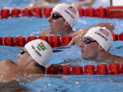 Nadando na bateria mais forte, ao lado do americano Ryan Lochte, Thiago Pereira liderou a prova em grande parte do tempo Foto: AP