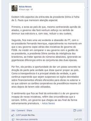 Senador tucano afirmou que PT tem 'obsessão' pelo governo de FHC Foto: Facebook.com/AecioNevesOficial / Reprodução