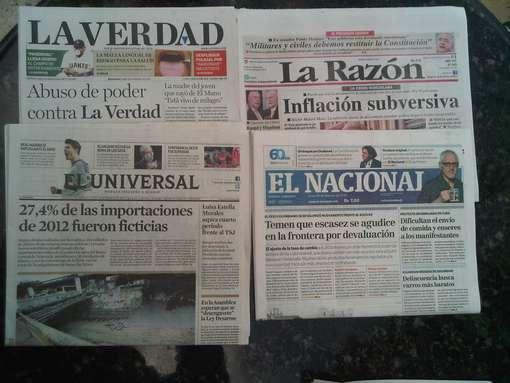 Volta de Chavez, em tempo real, envelhece as manchetes dos jornais (Foto: Bob Fernandes)