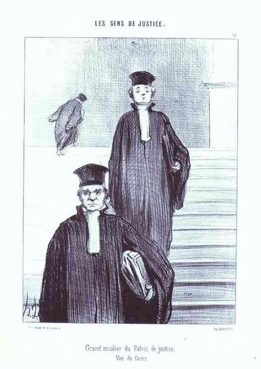 """Moitas Supremos"". Sátira Daumier, 1879, em Le Gens de Justice"