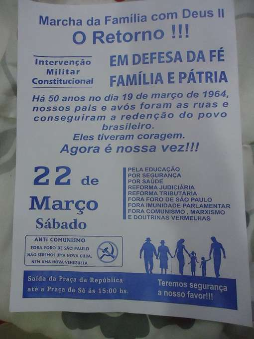Panfleto distribuído em São Paulo que convoca uma nova edição da