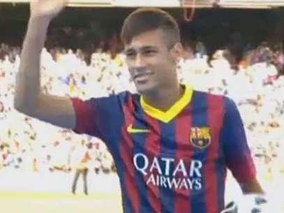 Ex-santista teve recepção de astro no Camp Nou Foto: Reprodução