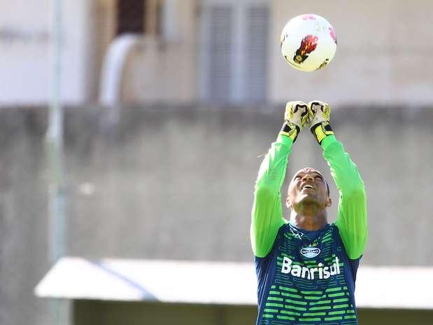 Dida saiu lesionado durante o primeiro jogo contra a LDU Foto: Lucas Uebel / Grêmio FBPA / Divulgação