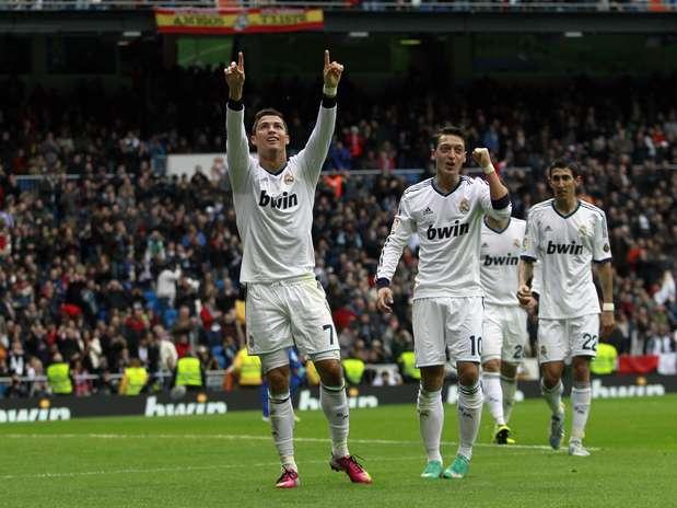Cristiano Ronaldo brilhou no segundo tempo e marcou três gols na goleada do Real Madrid Foto:  / AP