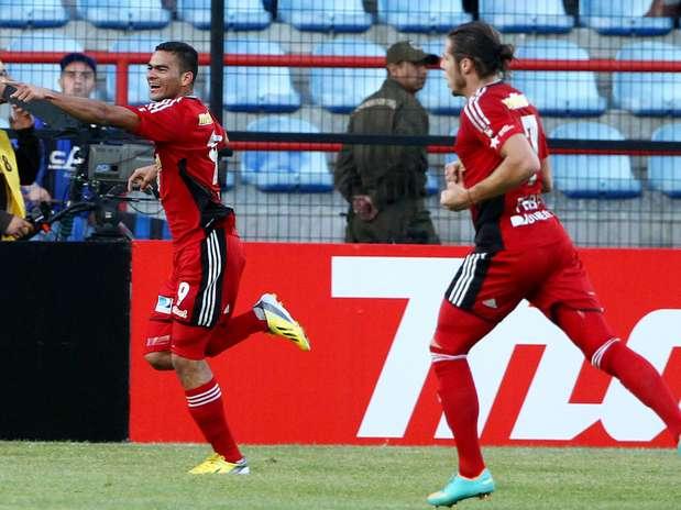 Cure comemora gol do Caracas pela segunda rodada da Libertadores Foto: AP
