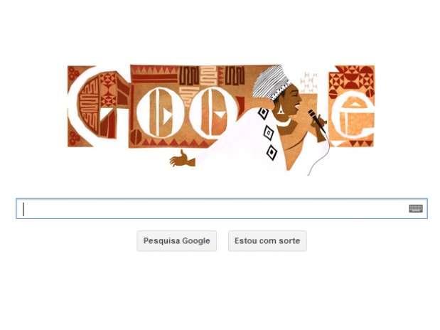 Google lembrou Miriam Makeba publicando um logo com motivos africanos neste dia 04 de março Foto: Google.com.br / Reprodução