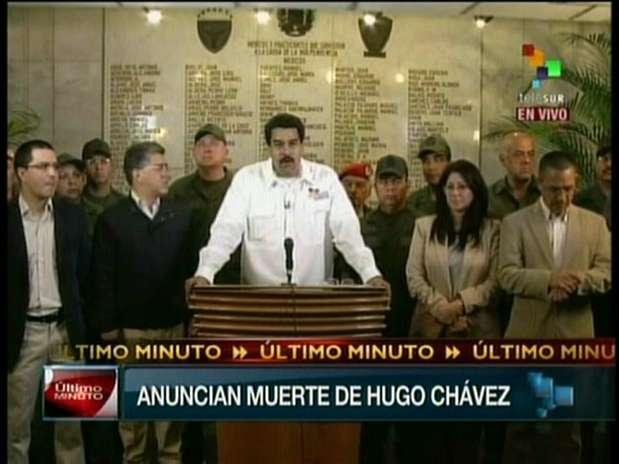O anúncio da morte do presidente da Venezuela foi feito pelo vice, Nicolás Maduro Foto: Reprodução