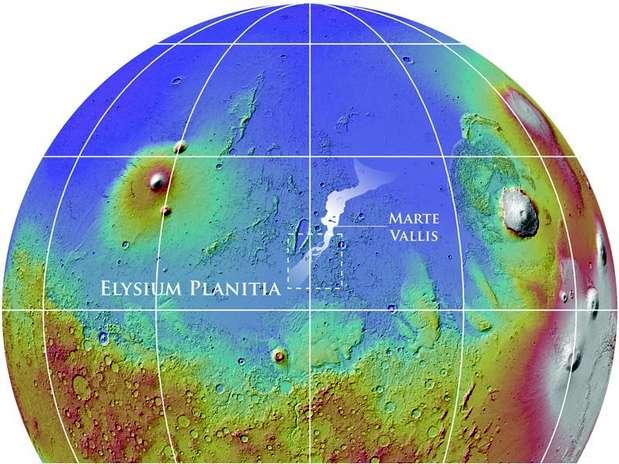 Pesquisadores estudaram o conjunto de canais de Marte Vallis Foto: Nasa/Mola Team/Smithsonian Institution / Divulgação
