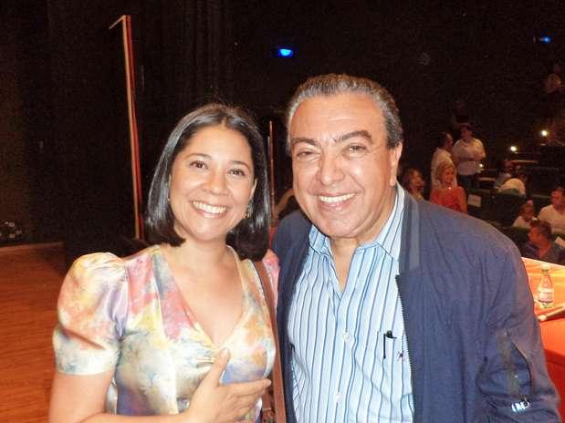 Kátia Ferreira, estilista da marca, e Maurício de Sousa, criador da personagem que completou 50 anos e ganha homenagem em coleção da grife Foto: Divulgação