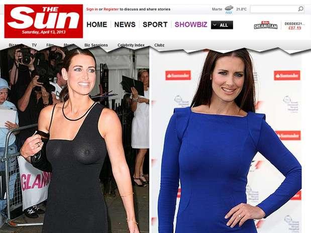 A apresentadora escocesa Kirsty Gallacher foi eleitaa melhor celebridade sem sutiã em enquete promovida pelo jornal The Sun Foto: The Sun / Reprodução