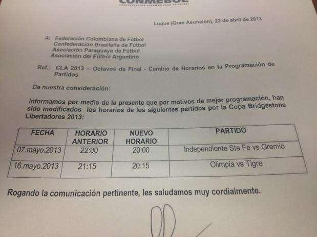 Ofício da Conmebol divulgado na Colômbia manteve jogo entre Santa Fé e Grêmio para dia 7 Foto: Reprodução