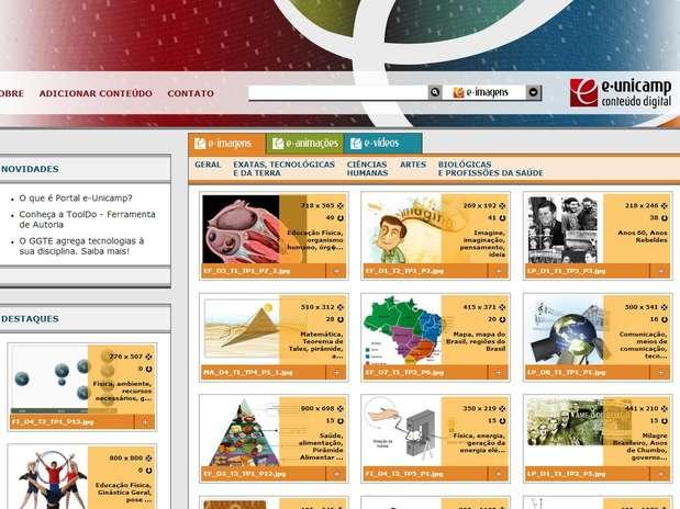 Na plataforma, os conteúdos estão separados por três editorias: e-imagens, e-animações e e-vídeos Foto: Reprodução