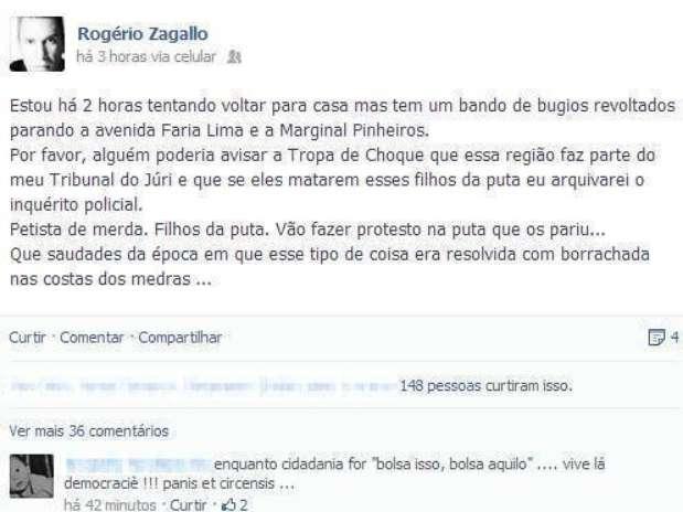 Zagallo poderá sofrer sanções internas, mas o órgão não divulgou o grau máximo de punição que ele está sujeito a sofrer Foto: Facebook / Reprodução