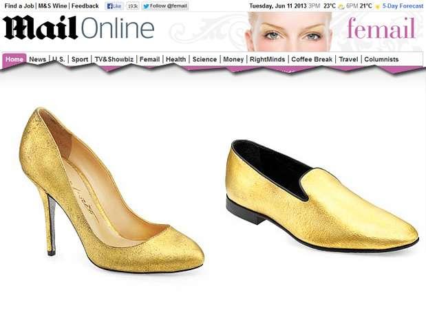 Modelo é simples, pois o ouro já dá charme e luxo aos calçados Foto: Reprodução