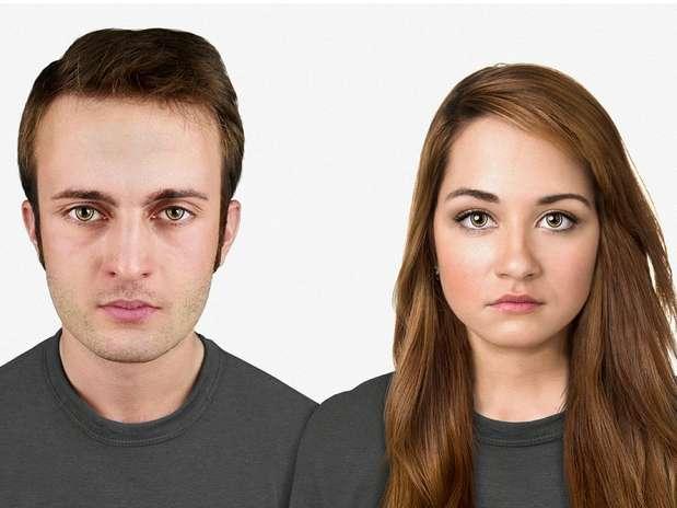 Em 20 mil anos -na projeção dos especialistas, daqui 20 mi anos a cabeça será maior, com uma testa sutilmente grande em comparação a anterior. O anel amarelo em torno dos olhos são lentes que devem representar o Google Glass do futuro Foto: Nickolay Lamm/MyVoucherCodes.co.uk / Divulgação