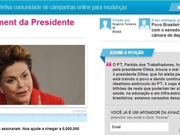'A presidente Dilma, que foi eleita pelo povo brasileiro, está traindo o povo e dando continuidade ao idealismo esdrúxulo do PT', diz a petição Foto: Reprodução