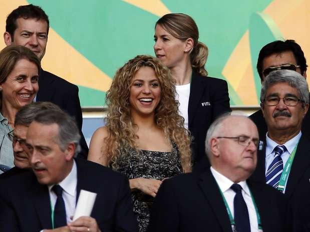 Shakira. mulher de Piqué, estava no Castelão