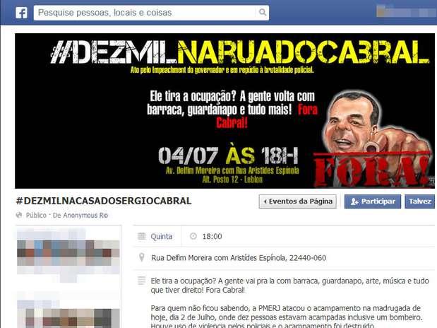 A página do Anonymous Rio convocava manifestantes para um protesto na rua do governador Sérgio Cabral Foto: Facebook / Reprodução