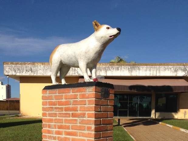 A estátua da cachorra foi colocada no jardim do cemitério Foto: Divulgação