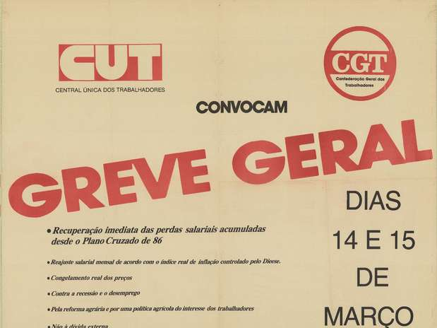 Em 14e 15 de março de 1989, sindicalistas fizeram a segunda greve geral do Brasil contra o governo de José Sarney Foto: Centro de Documentação e Memória Sindical da CUT / Divulgação